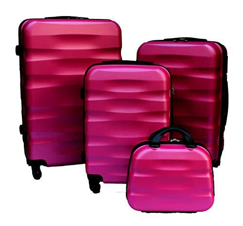 R.Leone Valigia da 1 pezzo Fino a Set 4 Trolley Rigido grande, medio, bagaglio a mano e beauty case...