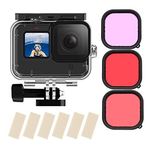 TELESIN Custodia impermeabile per GoPro Hero 9 nero, 50 m subacquea subacquea trasparente guscio protettivo con montaggio a sgancio rapido per GoPro HERO9 nero Action Camera Diving accessorio (HERO9)