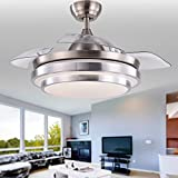 Bella Depot Contemporary Ceiling Fans with light and remote, 36' Silver Brushed Nickel Bladeless Ceiling Fan for Indoor Home Decoration Living Room Dinner Room Bedroom