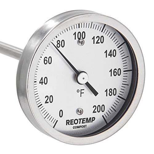 REOTEMP Heavy Duty Compost Thermometer - Fahrenheit (48 Inch Stem), Made in The USA