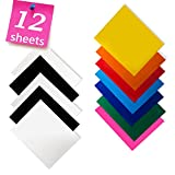 Heat Transfer Vinyl for T-Shirts 12x10' 12 Sheets-Iron On Vinyl HTV Bundle for Silhouette Cameo, Cricut or Heat Press