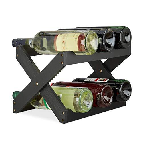 Relaxdays Porta bottiglie vino bamb a forma di X 6 bottiglie cantinetta piccola pieghevole HLP...