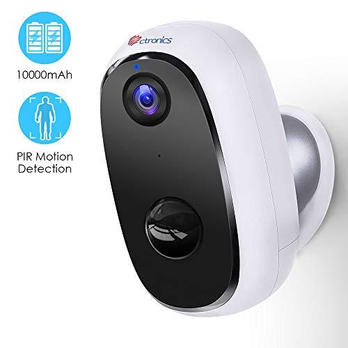 Telecamera Wifi Esterno con 10000mAh Batteria Ricaricabile, 1080P Ctronics Senza Fili Videocamera di Sicurezza con PIR Rilevazione Umana, Audio Bidirezionale, Visione Notturna 20m, Impermeabile IP66