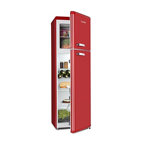 Klarstein Audrey Retro - Frigorifero, Freezer, Combinazione Frigo-Congelatore, Frigorifero 194 L, Congelatore 56 L, Freezer 4 Stelle, Classe A++, Zona Crisper 0C, Portabottiglie, Rosso
