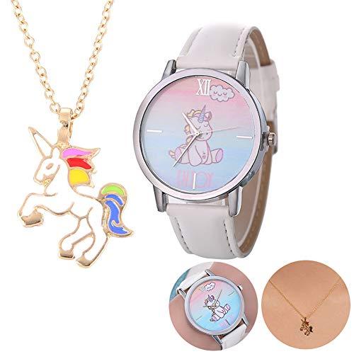 ouken 1 Juego Unicornio Collar Relojes Juego de Regalo de Cuero Informal Unicornio Lindo Banda Relojes de Pulsera de Cuarzo analógico Reloj de Cristal de la Manera del Reloj