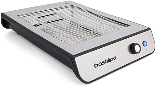 Bastilipo TPI-680 TPI-680 Flach-Toaster, 600 W, 6 Leistungsstufen, 2 Widerstände, Anti-Fingerabdruck-Stahl, Schwarz und Aluminium