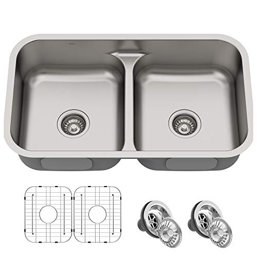 Kraus KBU32 Premier Kitchen Sink Double Bowl, Stainless Steel