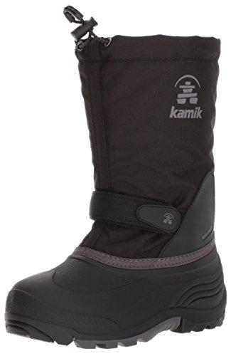 Kamik Girls' Waterbug5 Snow Boot, Black/Charcoal, 3 Medium US Little Kid