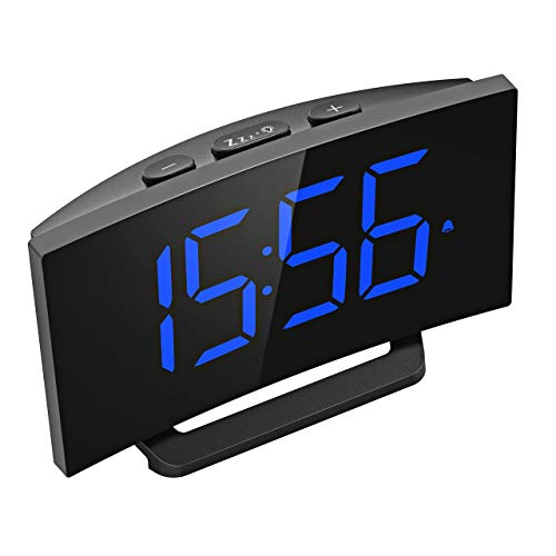 Mpow Digital Alarm Clock, 5'' Curved LED Screen, 6 Brightness, 3 Alarm Sounds, Easy Digital Clock for Kids and Adults, Alarm Clocks for Bedrooms Kitchen Office, Adjustable Volume, Snooze, 12/24H