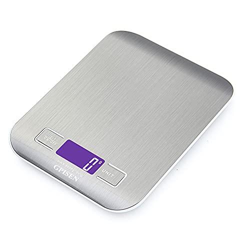 GPISEN Bilancia da Cucina Smart Digitale con Funzione Tare,5kg/11 lbs Professionale Acciaio Inox Alta Precision Bilancia Elettronica per la Casa e la Cucina,Argento,(2 Batteries Incluse)