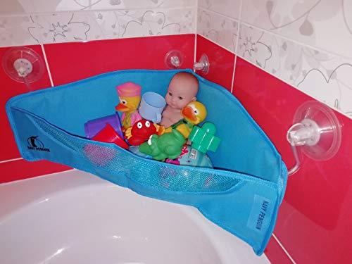 Badespielzeug Aufbewahrung - Extra-Starke Saugnapf Haken - Badewannen Spielzeug Bad Netz Organizer - Ecke Dusche Hänge Tasche für Kinder und Baby - Badewannennetz für Wasserspielzeug