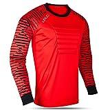 Kalci Soccer Jersey Padded Football Shirt for Adult/Kids Long Sleeve Football Padded Shirt Mens Goalkeeper Jersey (Red, YM)