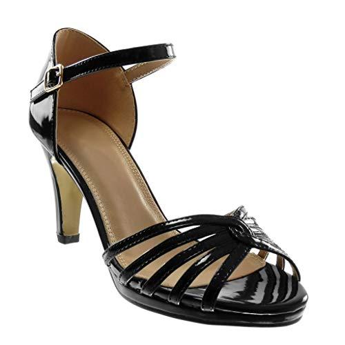 Angkorly - Chaussure Mode Escarpin Sandale Stiletto lanière Cheville Femme Verni Multi-Bride Talon Haut Aiguille 8.5 CM - Noir 3 - W65 T 36