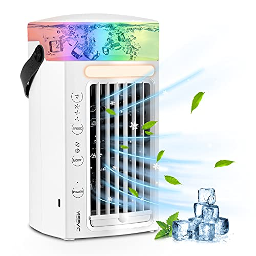 YISSVIC Condizionatore Portatile Climatizzatore Portatile 4 in 1 Air Cooler Umidificatore Purificatore con 7 Colori e 3 velocit per scrivania casa e ufficio