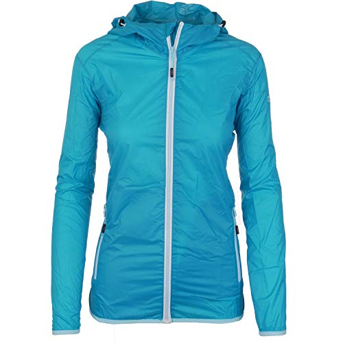 Pignolo P Regenjacke Damen packbar atmungsaktiv und wasserdicht mit Kapuze Outdoorjacke dünn und leicht verstaubar mit 3000 mm Wassersäule für Sport Monsuna, Größe:40, Farbe:Hellblau-Grau