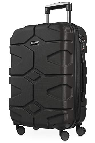 HAUPTSTADTKOFFER - X-Kölln - Handgepäck Trolley, Bordgepäck, Koffer, Volumenerweiterung, TSA, 4 gummierte Doppelrollen, 55 cm, 50 L, Schwarz matt