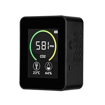 Détecteur de dioxyde de carbone CO2, 4YANG Appareil de contrôle de la qualité de l'air, Testeur d'air intelligent, Plage de mesure (400 – 5000 ppm), noir