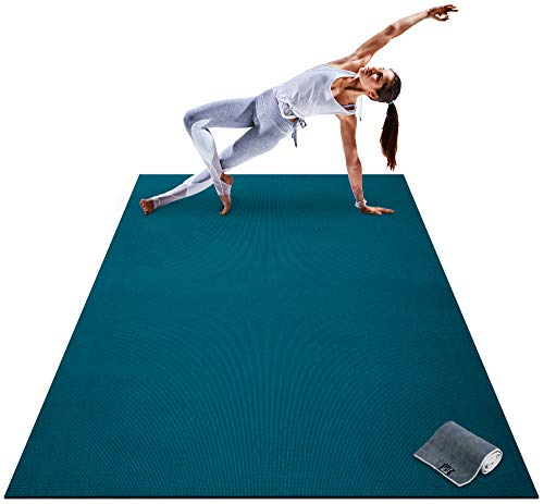 Premium Large Yoga Mat - 7' x 5' x 8mm Extra Thick, Ultra Comfortable, Non-Toxic, Non-Slip, Barefoot Exercise Mat - Yoga, Stretching, Cardio Workout Mats for Home Gym Flooring (84' Long x 60' Wide)