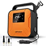 JETHAX Air Compressor Tire Inflator, 12V Portable Air Pump for Car Tires, Tire Pump with LED Light, Long Cable and Auto Shut Off Compatible with Car, Bicycle, Motorcycle, Balls, Inflatable Pool