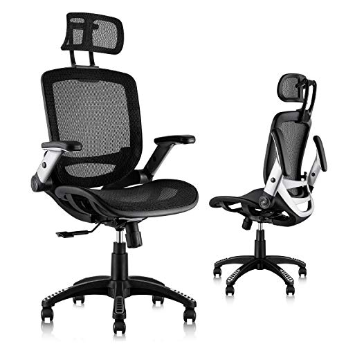 Gabrylly Ergonomic Mesh Office Chair, High Back Desk Chair - Adjustable Headrest with Flip-Up Arms,...