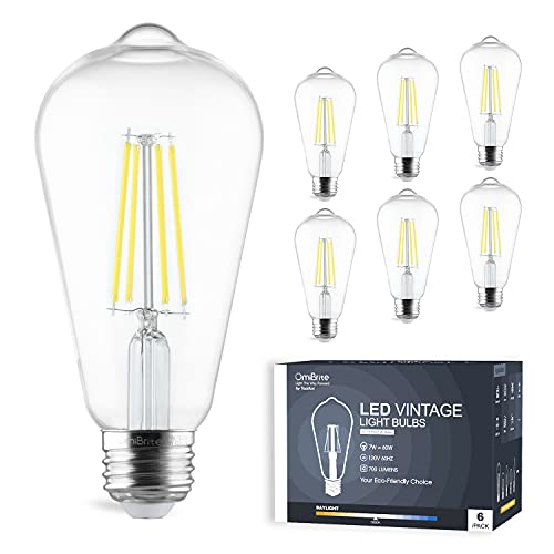 OmiBrite LED Edison Bulb 5000K Daylight White, Non-Dimmable 7W = 60W, 700lm, 90+ CRI, E26 Standard Base Clear Glass ST19 Vintage Design Ideal for Bar, Cafe, Indoor Decoration, 6/Pack