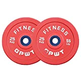 Olympic 100% Pure Rubber Disc Professional Competitive Barbell Weight Plate, 50mm Hole Diameter, Color Barbell Disc,1-Pair(25kg/55lb)