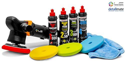 detailmate Auto Politur Set: Liquid Elements T3000 V2 Exzenter Poliermaschine, 900 Watt + Menzerna Politur Set (1000er, 2500er, 3000er, Protection) mit passenden Polier Pads