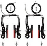 RUJOI Bike Brake kit,Bike V Brake Set with 72mm Superior V-Brake Shoes and 2 pcs Braking Cable and Cable end crimps,Ideal for Mountain,BMX Bike Brake Set Upgrade
