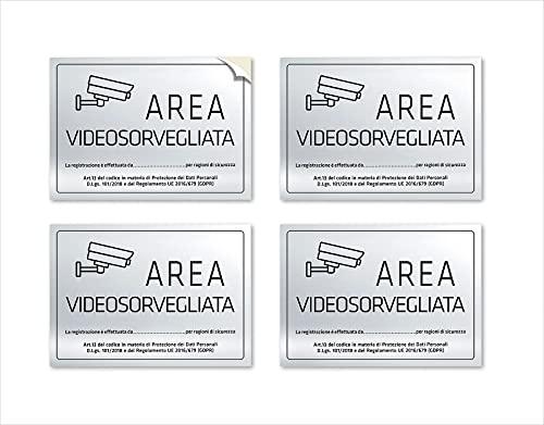 4 pegatinas de videovigilancia en poliéster plateado, (escritas en negro) impermeables, lavables, - Tamaño: 15X10 cm - Italiano 4 piezas