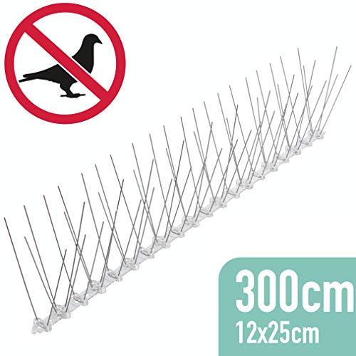 riijk 3 Meter Taubenabwehr vormontiert: Vogelabwehr Spikes als Taubenschreck und Vogelschutz - tierschutzkonform