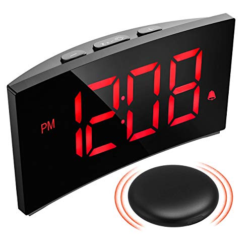 PICTEK Wireless Bed Shaker Alarm Clock for Heavy Sleepers, Shaking or Sound Mode, 3 Alarm Sound, Clear Red Display with 6 Dimmer, Digital Alarm Clock for Bedrooms for Kids Deaf Hard of Hearing