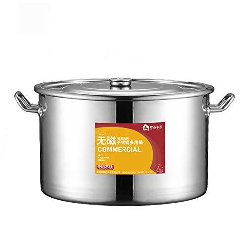 Pentole fumanti Pentola di riserva, Catering commerciale/Domestico spessore 304 Pentola di zuppa in acciaio inox con coperchio, utilizzato per stufa a gas/fornello a induzione (13-80L) Recipiente