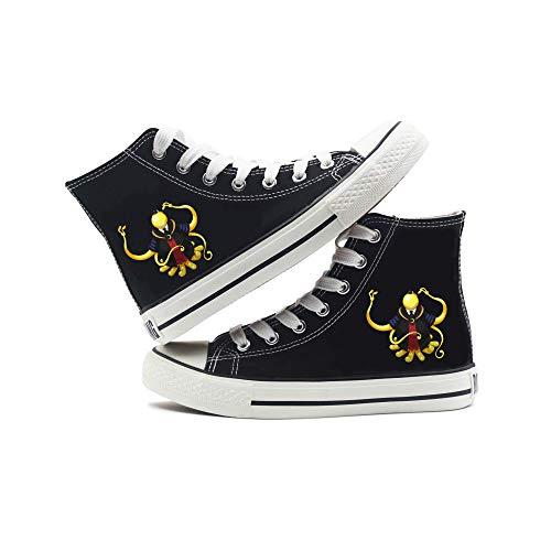 Assassination Classroom Canvas Zapatos Zapatillas de Deporte con Cordones Zapatillas de Lona Zapatos con Estampado de Anime Unisex Lazada Zapatos (Color : Black12, Size : EU41 US9)