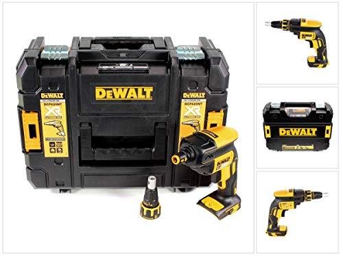 DeWalt Akku-Schnellbauschrauber (18V, bürstenlos, für effiziente Trockenbauarbeiten, mit LED, inkl. Zubehör und Tstak Box II, Lieferung ohne Akku und Ladegeräte), DCF620NT