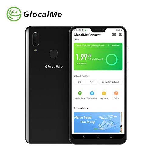 """GlocalMe S20i Unlocked Smartphone with 1GB Global & 8GB US Data -SIM Free Roaming Free World Phone - 6.26"""" FHD, Dual-SIM, 128GB, Dual Camera - Built in GlocalMe Connect APP Full Band Supported (Black)"""