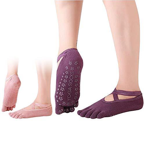 2 Paia di Calzini Antiscivolo Donna con Dita Calze di Cotone per Pilates/Yoga/Arti Marziali/Fitness/Danza/Ginnastica