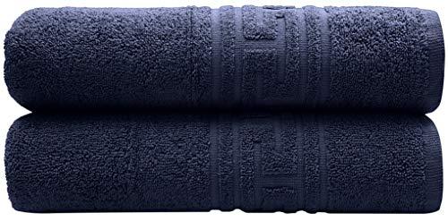 PH Pleasant Home Set Badehandtücher – 2er Pack – 70 x 140 cm – 100{a2a099d46d235c367c6f7ee6d502ad26062a3e99094ed5f22708570ac3cb3cb4} Baumwolle – 520 g/m² – Griechischer Schlüsselrand – Weich & Saugfähig (Marine Blau)