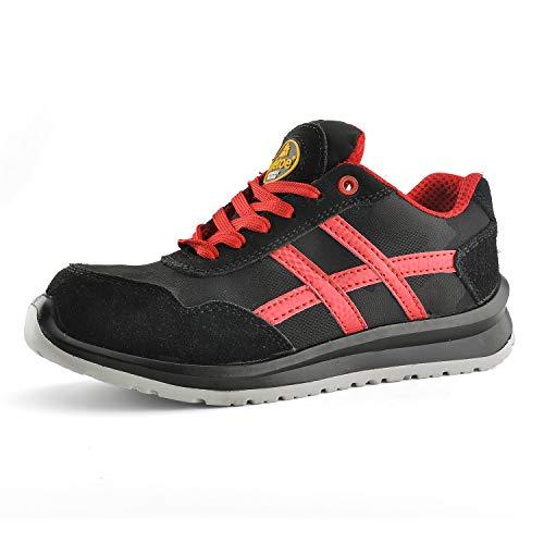 Zapatos de Seguridad Deportivos Ultra-Ligeros - SAFETOE 7329 Calzado de Seguridad Hombre Trabaja con Tus Pies Bien Protegidos (Talla 46, Negro)