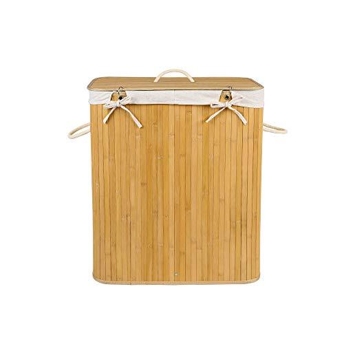 Edaygo Wäschekorb Wäschesammler Bambus mit Deckel, 100 Liter, eckig, Natur
