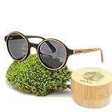 Lunettes de Soleil Polarisées en Bois - Lunettes homme et femme en bois écologique et fait main - Lunettes Solaires Bois Véritable - Protection UV400
