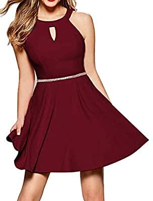 High Neck, Sleeveless, Sexy Keyhole Design, A-line Dress Halter Top, Sexy Front Cutout, Jewel Trimmed-Waist, Fit and Flare Design This skater dress can be dressed up and down, smart casual, semi-formal and any other special occasion. This women halte...