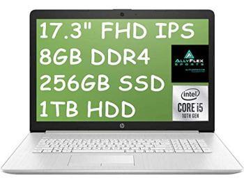 "2021 Newest HP 17 Laptop Computer 17.3"" FHD IPS, 10th Gen Intel Quad-Core i5-10210U(Beat i7-8550U), 16GB RAM, 256GB SSD+1TB HDD, Backlit Keyboard, HDMI, WiFi, Webcam, DVDRW, Windows 10+AllyFlex MP"