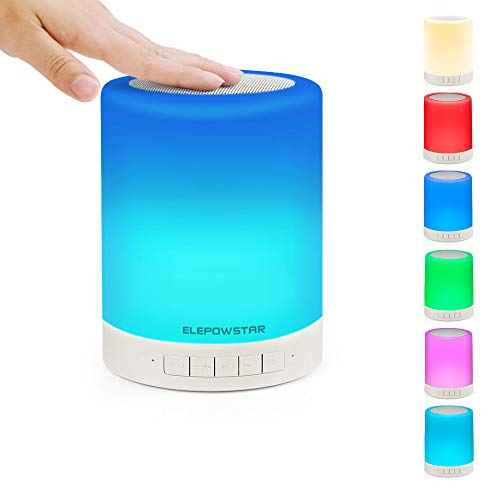 ELEPOWSTAR Smart Touch Night Light with Bluetooth Music Speaker, Dimmable Color Changing RGB Bedside Lamp for...