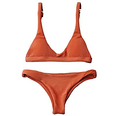 Style attention:The bikini top is small and can fit flat woman really well ,and the bottoms are a bit loose for a smaller person Material: Nylon Suit for,Outdoor,Beach,Swimming Pool Garment Care: Hand-wash and Machine washable, Dry Clean. NOTICE: Bef...