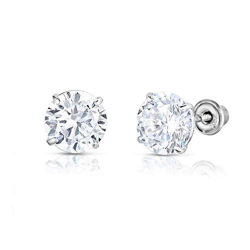 14k White Gold Solitaire Round Cubic Zirconia CZ Stud Earrings in Secure Screw-backs (4mm)