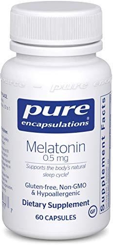 Pure Encapsulations - Melatonin 0.5 mg - Hypoallergenic Supplement Supports The Body's Natural Sleep Cycle - 60 Capsules