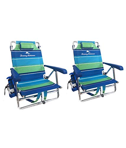Tommy Bahama Set of 2 Backpack Beach Chairs with Cooler,...