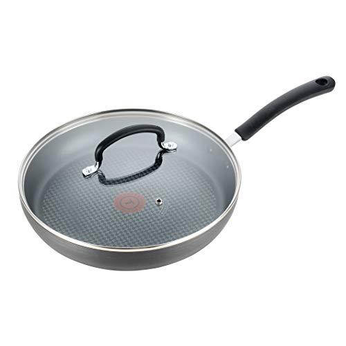T-fal Dishwasher Safe Cookware Fry Pan with Lid Hard Anodized Titanium Nonstick, 12-Inch, Black
