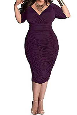 Sexy V-Neck 1/2 Sleeve Solid Color Pleated Bodycon Midi Dress Size:L(US 14),XL(US 16-18),2XL(US 20),3XL(US 22),4XL(US 24),please choose the size according to the measurement we provided(pictures). This dress is American Plus Sized and it fits amazing...