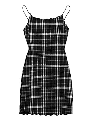 Soft, light stretch, skin-touch material, the dress will give you a comfortable and breezy wearing experience. This women bodycon dress features high-quality material, plaid, frill trim, sleeveless, spaghetti strap, short length, draw more attention ...